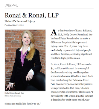 Holly Ronai Selected for New York Magazine's Women Leaders in the Law 2014